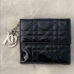 CHRISTIAN DIOR Black Patent Lady Dior Mini Wallet